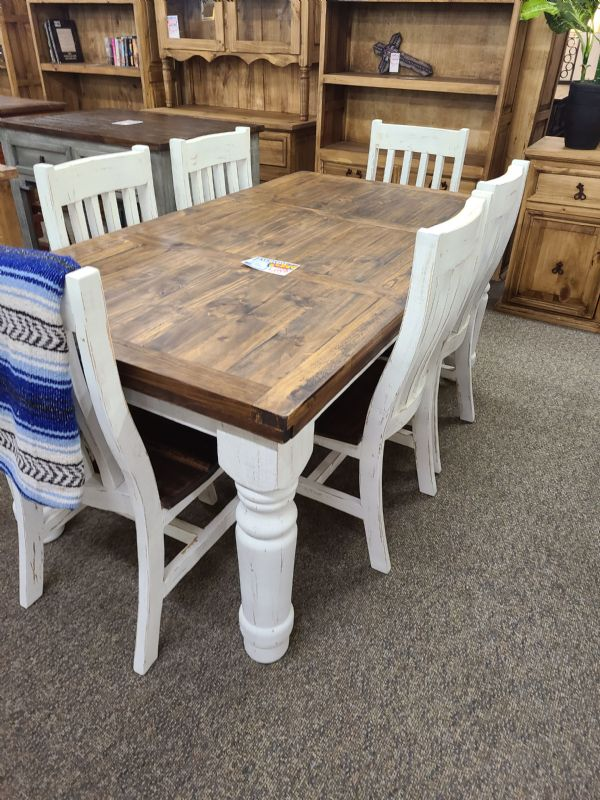 Rustic Dining Table & 6 Chairs White