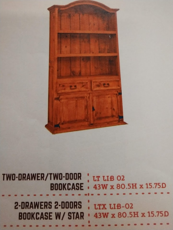 Rustic 2 Drawer 2 Door Bookcase