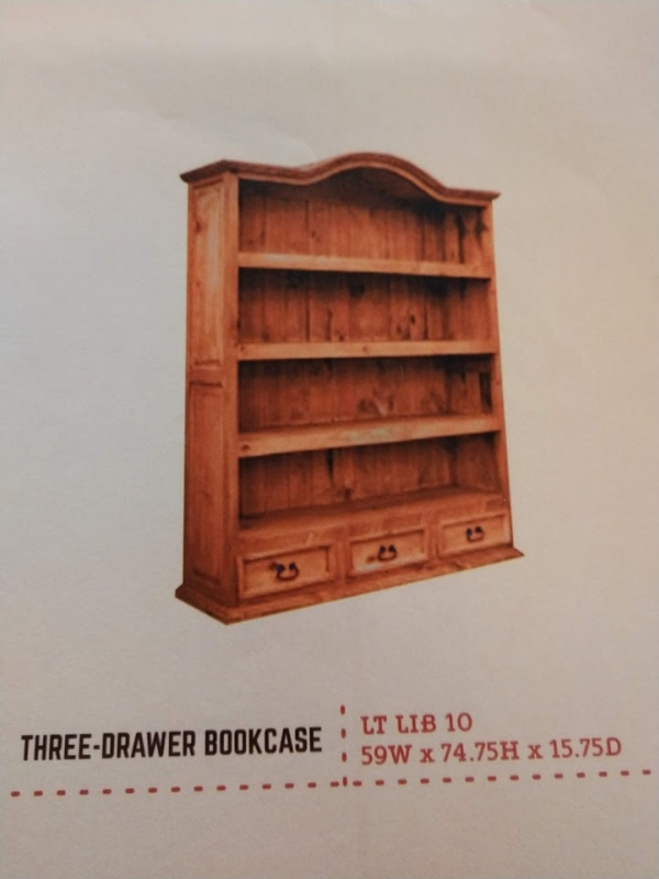 Rustic 3 Drawer Bookcase