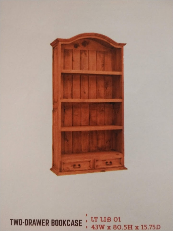 Rustic 2 Drawer Bookcase