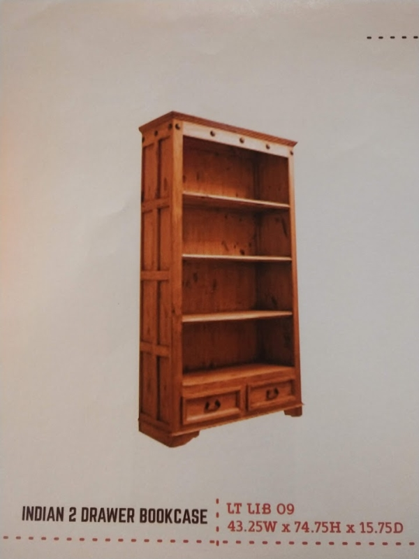 Rustic Indian 2 Drawer Bookcase
