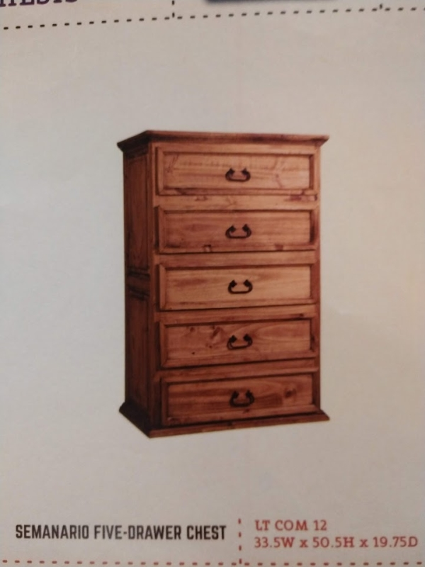 Rustic Semanario 5 Drawer Chest