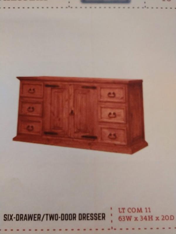 Rustic 6 Drawer/2 Door Dresser