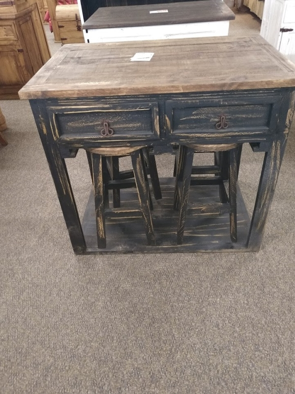 Rustic Kitchen Island with 4 Stools