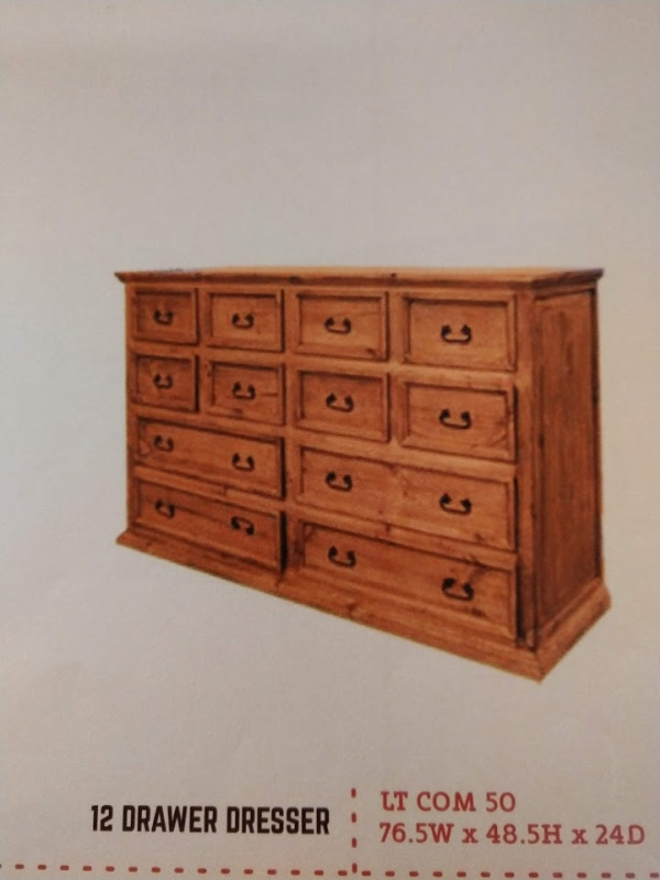 Rustic 12 Drawer Dresser