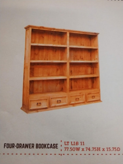 Rustic 4 Drawer Bookcase