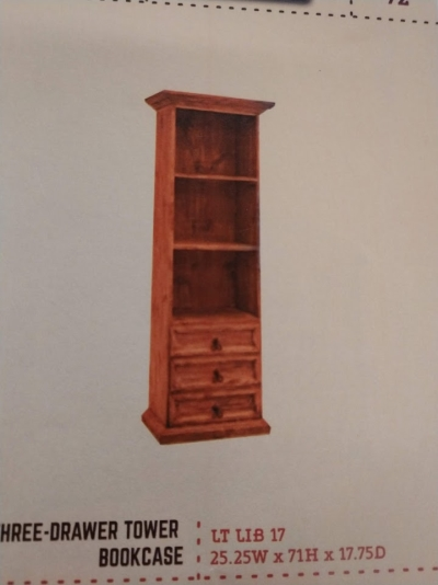 Rustic 3 Drawer Tower Bookcase