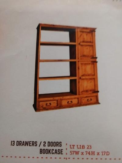 Rustic 3 Drawer/2 Door Bookcase