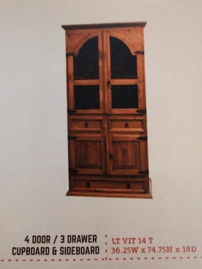 Rustic 4 Door/3 Drawer Cupboard