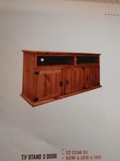 Rustic 3 Door TV Stand
