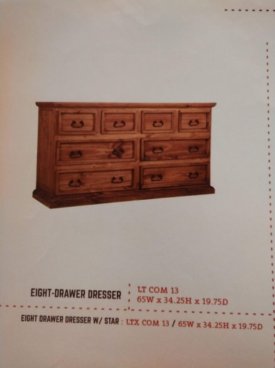 Rustic 8 Drawer Dresser