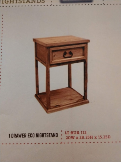 Rustic 1 Drawer Eco Nightstand