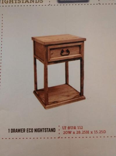 Rustic 1 Drawer Eco Nightstand