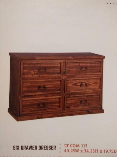 Rustic 6 Drawer Dresser