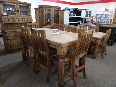 Rustic Pub Table & 6 Chairs