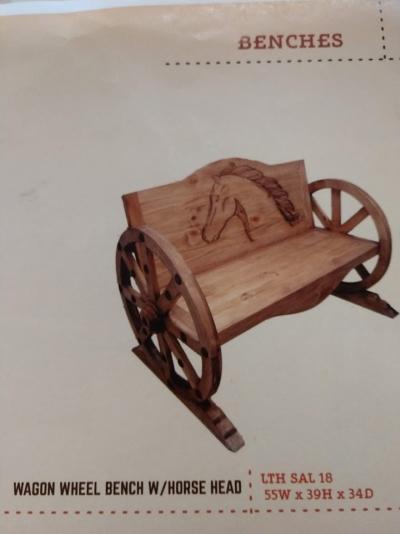 Rustic Wagon Wheel Bench
