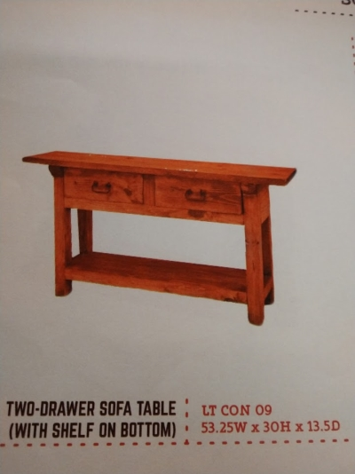 Rustic 2 Drawer Sofa Table